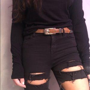 VINTAGE BRIGHTON brown leather belt silverhardware